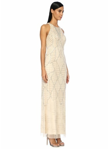 Aidan Mattox İşlemeli Sırtı Çapraz Askılı Maksi Elbise Krem